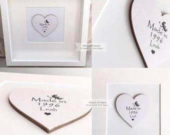 Framed Wooden Hearts, Personalised with the year you were born,  'Made In Series, 21st Birthday - Wedding Gift, Baby Shower Present, 30th
