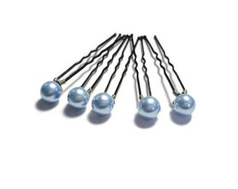 Pearl hair pins - Blue pearl hair pins - Pearl bobby pins - Pearl hair pins wedding - Something blue - Bridal hair pearls - Wedding hair