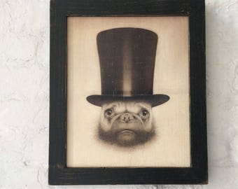 Pug in Top Hat