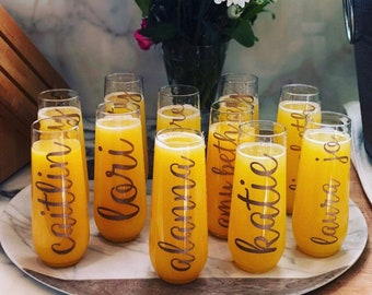 Champagne Flutes/Tossware/Stemless Flute/Personalized Flute/Bridal Party Gift/Wedding/Bachelorette Party/Stemless Champagne/Bridal Flute