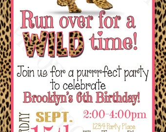 Wild Time Cheetah Personalized Party Invitation (Printable Digital File)