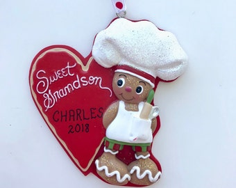 Gingerbread Grandson Personalized Christmas Ornaments / First Christmas Ornament / Sweet Grandson