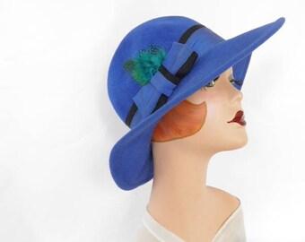 Fedora blue hat, vintage Betmar tilt