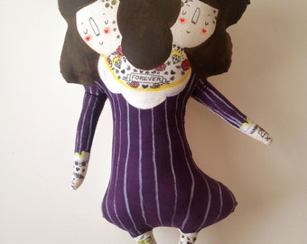 Two Headed Girl- Sideshow Performer- Art Plush Doll- Handmade, Painted- Vintage Circus OOAK - ready to ship - Twins