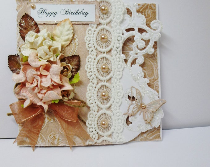Shabby Chic Birthday Card, Vintage Birthday Card, Flowers And Lace, Female Card, Card For Mum, Card For Sister