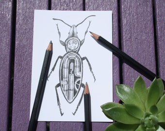 Dieselpunk insect postcard