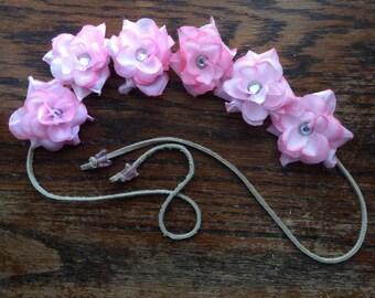 Pretty in Pink Flower Headband with Rhinestones
