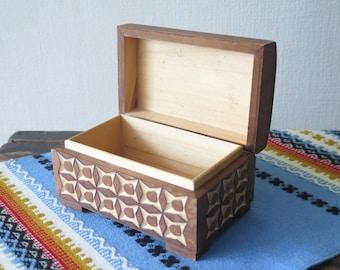 Wooden Trinket Box Hand Carved Vintage Jewelry Box Wood Box Storage Box @234