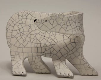 Ceramic Polar Bear Sculpture,...