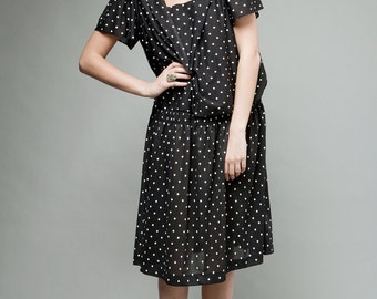 polka dot dress, black white dress, sailor collar dress, drop waist dress, vintage 80s XL plus size 1X