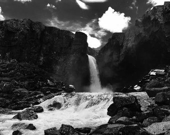 Iceland Waterfall|Black and White Photography||Wall Art|Home Decor