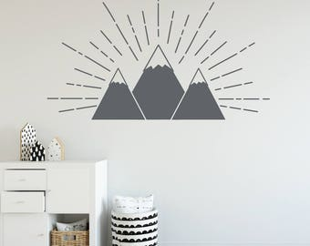 Mountain wall decal, Vinyl wall decals for kids, Woodland wall decal, Wall decals for boys, Playroom wall decals, Children's wall decal R120