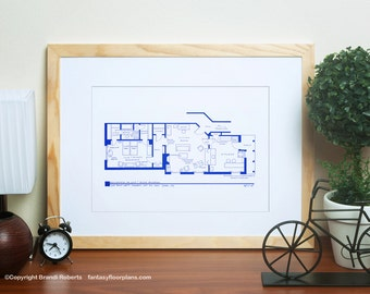 I Love Lucy - TV Show Apartment Floor Plan - BluePrint Poster Art for 1st NYC Residence of Lucy and Ricky Ricardo - Great gift!