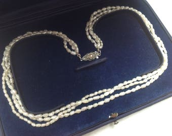 Wedding Jewelry Freshwater Pearl 3 Strands Vintage Necklace With Antique Silver and Pearl Marcasite Clasp