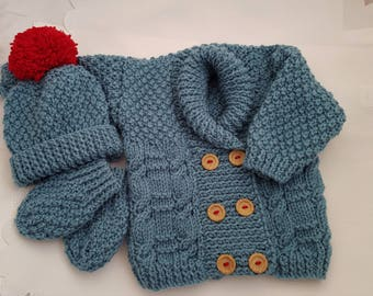 Knitted Baby Clothes - Baby Gift - Hand Knitted Baby Cardigan, Hat and Mittens - Handmade Boys Teal & Red Sweater 3-6 Months - Ready To Ship