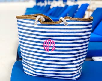 Monogrammed Stripe Tote | Monogrammed Nautical Striped Tote | Personalized Striped Tote | Oversized Tote | Personalized Beach Bag |