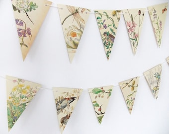 Spring and Summer Paper Garland, eco-friendly banner, up-cycled bunting, wedding pennants, wedding decor