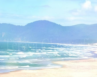 Ocean Waves, Beach Photo, Seascape, Fine Art Photography, 8 x 12, 16 x 24, Sea Green, Blue Sky, Golden Sand, Surf, Sunny Vacation, Seaside