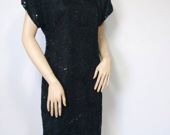 1980's Beaded Dress Laurence Kazar Silk Big Shoulder Mini Dress Tagged Size Small