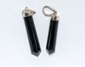 Black tourmaline, top with silver taken