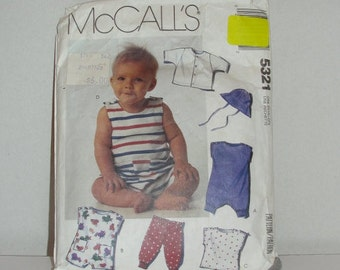 McCalls Baby Clothes Pattern 5321 Summer Rompers, Jumpsuit Cardigan Top Pants and Hat Patterns