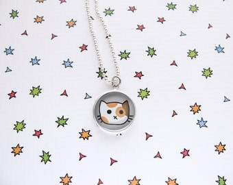 Cute Cat Necklace, Kitty Pendant, Calico Jewelry, Cat Jewelry, Kawaii Fashion, Fun Accessories, Cat Lover Gift