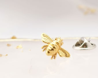 Bee Gold Brooch, Bee Brooch, Bee Pin, Bee Jewellery, Bee Silver Brooch, Fathers day Pin, Birthday Brooch
