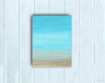 Watercolor Ocean Painting Abstract Canvas Print - Aqua Teal Blue Sea Coastal Beach Giclee Art Print - 8x10/11x14/12x16/16x20 - Vallarta