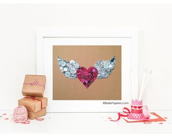 Button Art Winged Heart Flying Heart Buttons & Swarovski Rhinestones Wall Art Button Art valentine soul love
