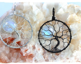 Rainbow Moonstone Celestial Jewelry Tree-of-Life Pendant Full Moon Wire Wrap Jewelry Argentium Sterling Silver Black Recycled Eco Friendly