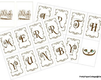 PRINTABLE, Merry Unbirthday Banner, Digital Download, Alice in Wonderland, DIY,  Party Decoration, PDF Files, Card Size: 2.3x3.5 inches