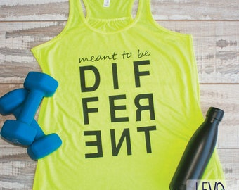 Cute Gym Top, Different Flowy Tank Top, Different, Tank Top for Women, Women's Tank Top, We Are Different, Neon Yellow