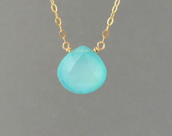 Chalcedony Blue Drop Necklace available in gold, rose gold, or silver