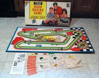 Vintage 1963 Transogram Four Lane Road Racing Board Game Sebring Track