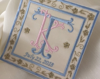 something blue custom monogram luxury silk satin wedding label patch wedding shower bridal bride groom