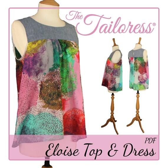 Eloise Kleid PDF Muster oben Pdf Nähen Schnittmuster für