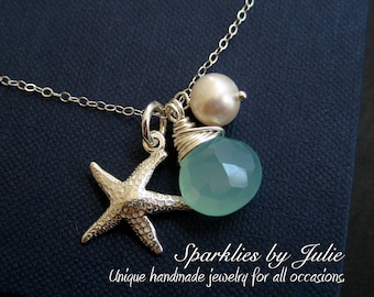 Ocean Necklace - Wire Wrapped Aqua Peruvian Chalcedony, Sterling Silver Starfish, Freshwater Pearl, Beach, Ocean, Nautical, Teal Blue
