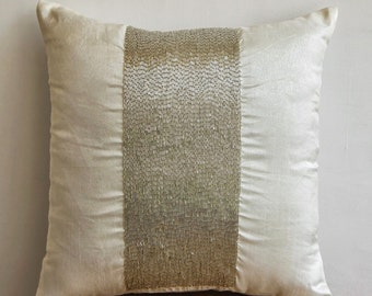 Decorative Throw Pillow Cover Accent Pillow Couch 20x20 Inches Pillow Cover Silk Dupioni Embroidered - White Sparkle