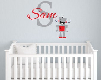 Personalized Name Robot Decal for Boys, Custom Monogram Sticker, Removable Boys Wall Decal, Vinyl Lettering Boys Bedroom