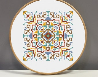 Girlybunches Cross Stitch Mediterranean Tile MT01 Pattern - Instant Download