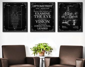 Optometrist Gift - SET OF 3 - Optometry Gift - Optometry Art - Eye Chart Art - Eye Doctor Gift - Optician Gifts Decor - Wall Art - 1859