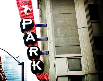 Fort Worth Texas Neon Sign - Sundance Square - Fine Art Photograph - 3rd Street Garage
