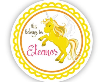 Personalized Name Label Stickers - Yellow Unicorn, Magical Unicorn Name Tag Sticker Labels, This Belongs To Tag - Back to School Name Labels