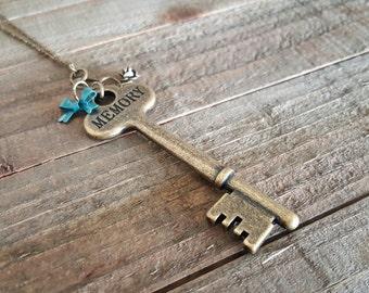 Key Necklace, Vintage Skeleton Key Necklace, Antique Brass Necklace