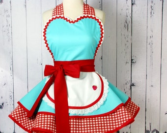 Dotties Diner Retro 50s Diner Waitress Apron Aqua and Red Ready to Ship
