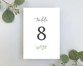Wedding Table Numbers / Eucalyptus Minimalist Invitation Suite / Simple Elegant Garden Wedding / #1116