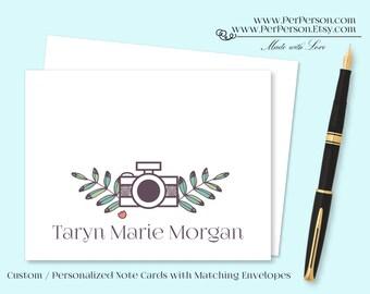 Free Ship!  Set of 12 Personalized / Custom Notecards, Boxed, Blank Inside, Camera, Initials, Monogram, Name