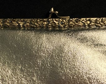 WEARWELL Silver Metallic Textured  Hinged Handbag with Floral Trim and Fold in Snake Chain Handle - Vintage