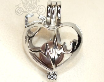 Heartbeat Stethoscope 925 Sterling Silver Pearl Cage Necklace Nurse Doctor Medical Professional Silver Locket Charm