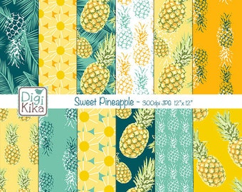 Sweet Pineapple Digital Papers, Tropical Pineapple Scrapbook Paper - Pineapple Papers - Tropical Background - INSTANT D
